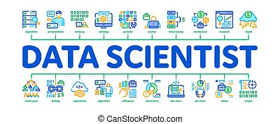 Data Scientist Worker Minimal Infographic Web Banner Vector. Server And Web Site Research, Programmer And Data Scientist, Binary Code And Infographic Illustrations