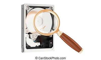 Data search concept. Hard Disk Drive HDD with magnifier, 3D...