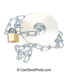 A lock and chain safeguard a data disk from any theft or copyright.