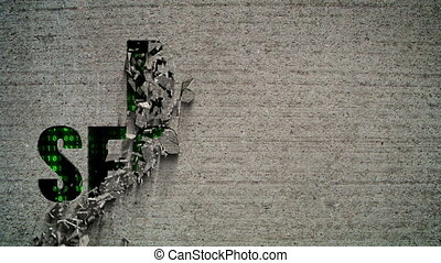 Data Security Binary Code Crumbling - Crumbling wall...