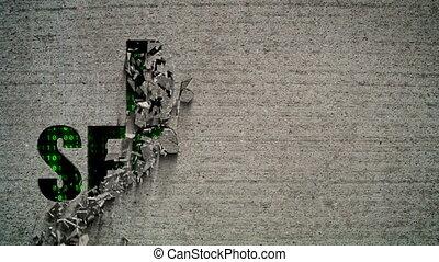 Data Security Binary Code Crumbling - Crumbling wall...