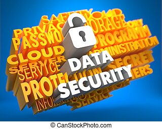Data Security with Icon of Opened Padlock - White Color Text on Yellow Word Cloud on Blue Background.
