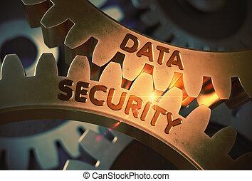 Data Security Concept. Golden Gears. 3D Illustration.