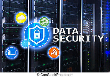 Data security, cyber crime prevention, Digital information protection. Lock icons and server room background.
