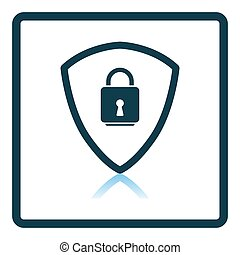 Data Security Icon. Square Shadow Reflection Design. Vector Illustration.