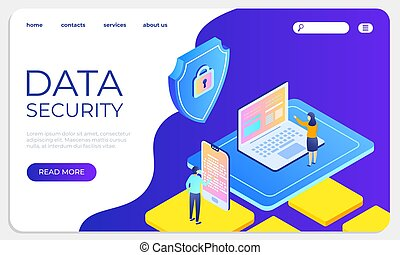 Data security isometric landing concept. Protect data and confidentiality website template. Vector illustration secure system