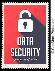 Data Security on Red in Flat Design.