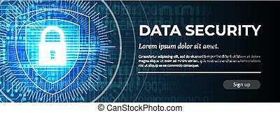 Data Security. The Blue Digital Background. Vector.