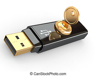 Data security. Usb flash memory and key. 3d - Data security....