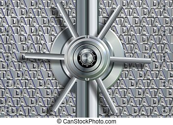 Data security - Vault lock in front of group of words...