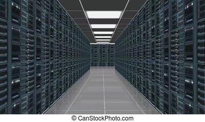 data server room - camerarecording trought row of network servers