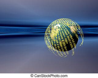 A free interpretation of a virtual server in the internet cosmos, data streams.