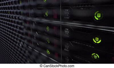 Data Servers While Working. HDD Racks. Server close up....