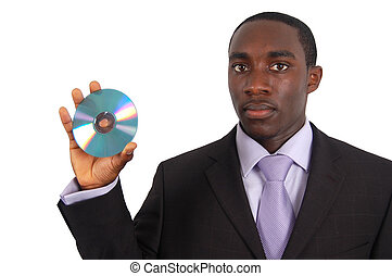 This is an image of a man holding a data cd. This can represent data security, video to dvd conversion, good technology service etc..