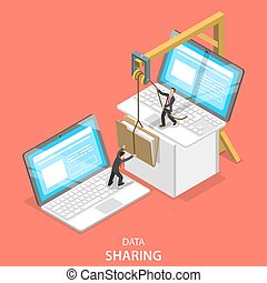 Data sharing service isometric flat vector concept. -...