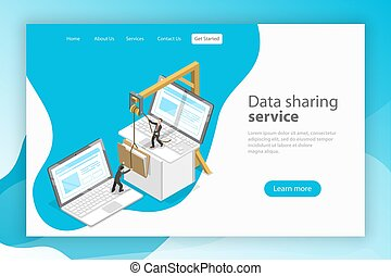 Data sharing service isometric flat vector landing page. -...