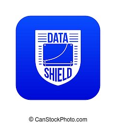 Data shield icon blue