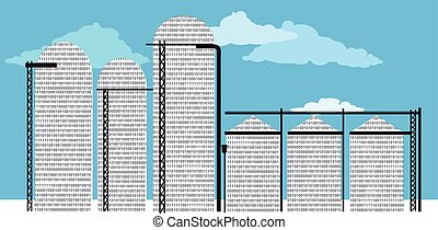 Data silo filled with computer code, EPS 8 vector...