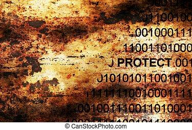 data, skydda, begrepp, grunge