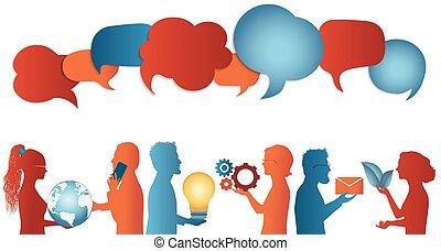 data., speak., o, información, hablar, burbuja, conexión, ...