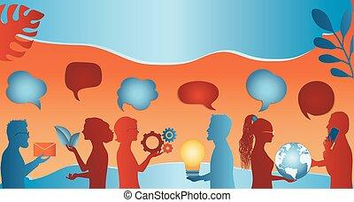 data., speak., o, información, hablar, conexión, bubble., ...