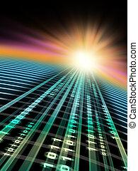 Data speed - Binary data stream flowing in cyberspace....