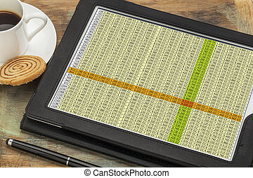 data spreadsheet on digital tablet