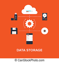 Data Storage - Abstract flat vector illustration of data...