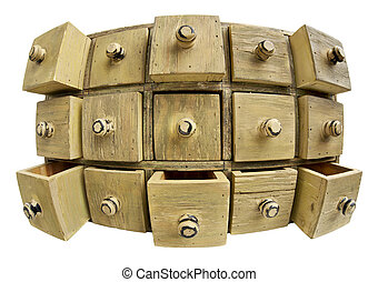 data storage concept - 15 drawers of a primitive wooden apothecary cabinet in distorted fish eye lens perspective