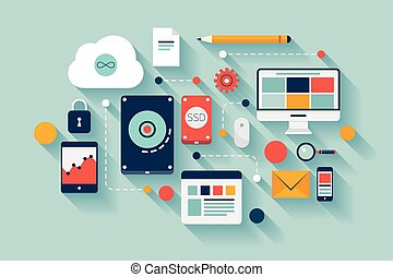 Flat design vector illustration concept of computer and connected mobile devices with links of transmission information on various data storages and cloud computing service. Isolated on stylish colored background.