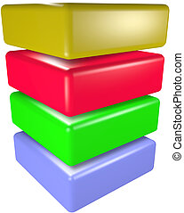 A stack of four 3D technology cubes abstract data symbols.