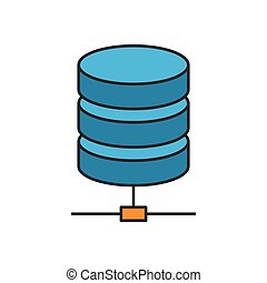 Data storage flat line icon