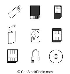 Data storage icons - Vector illustration - set of simple...