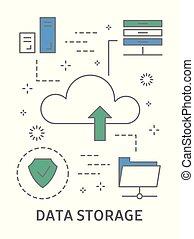 Data storage illustration. Cloud computing with information.
