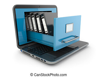 Data storage. Laptop and file cabinet with ring binders. 3d
