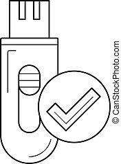 Data storage line icon.