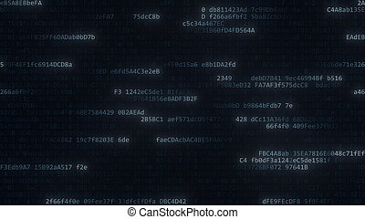 Data streams. Computer code symbols on the screen, 3D rendering