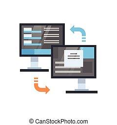 Data Synchronization Icon Computer Connection Database...