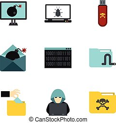 Data theft icons set, flat style - Data theft icons set. ...