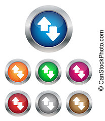 Collection of data transfer buttons in various colors