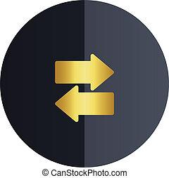 Data Transfer Icon Black Circle Background Vector Image