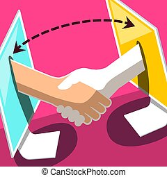 Data Transfer Symbol. Vector Illustration of Two Desktop Computers with Shaking Hands. Business Corporation Icon.