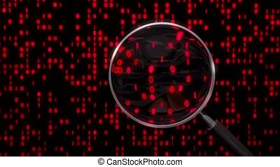 Data under magnifying glass binary spying spyglass 4k