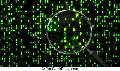 Data under magnifying glass binary spying spyglass