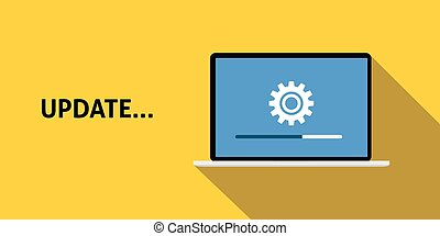 data update or synchronize with bar process with yellow background and long shadow flat style vector