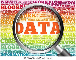 data, woord, vergroten, wolk, glas