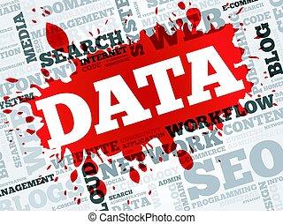data, woord, wolk