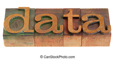 data word in vintage wooden letterpress printing blocks isolated on white