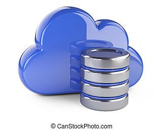 databank, concept., gegevensverwerking, opslag, symbool., wolk