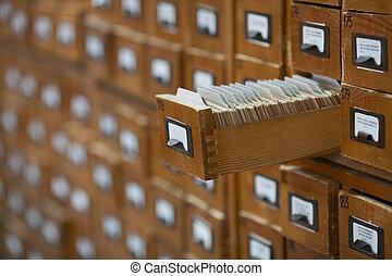 databank, ouderwetse , concept., de kaart van de bibliotheek, bestand, catalog., of, cabinet.
